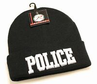 Police Logo Acrylic Knit Beanie Watch Cap W/ Embroidered 3d Police Logo