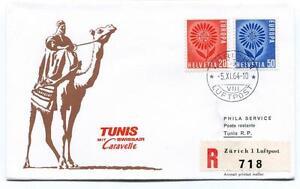 Respectueux Ffc 1964 Caravelle Swissair Special Flight Zurich Tunis Registered Luftpost