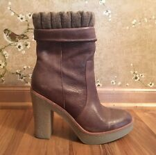 Women's Gap Brown Leather Platform Side Zip Ankle Boots Size 7 Stunning Shoes!