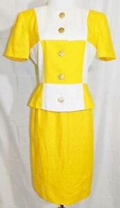 KG-Studio-Skirt-Suit-Color-Block-Lined-Short-Sleeve-Jacket-Yellow-White-sz-4-Vtg
