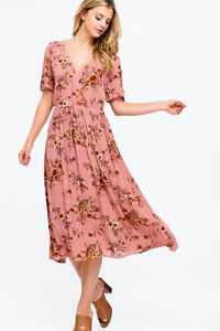 Womens-Re-named-Boho-Maxi-Dress-Sz-M-Short-Sleeve-Surplice-V-Neck-Floral-Pattern