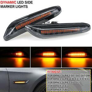 2X-dynamique-LED-marqueur-lateral-clignotant-pour-BMW-E90-E91-E92-E93