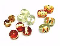 12pcs Dog & Bone Hand Painted Glass Beads Mix Round Oval Beads 12 16mm