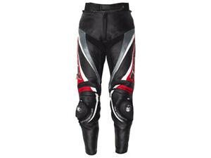 iXS Lederhose Robin | Schwarz-Rot-Weiß | Motorradhose aus Rindsleder