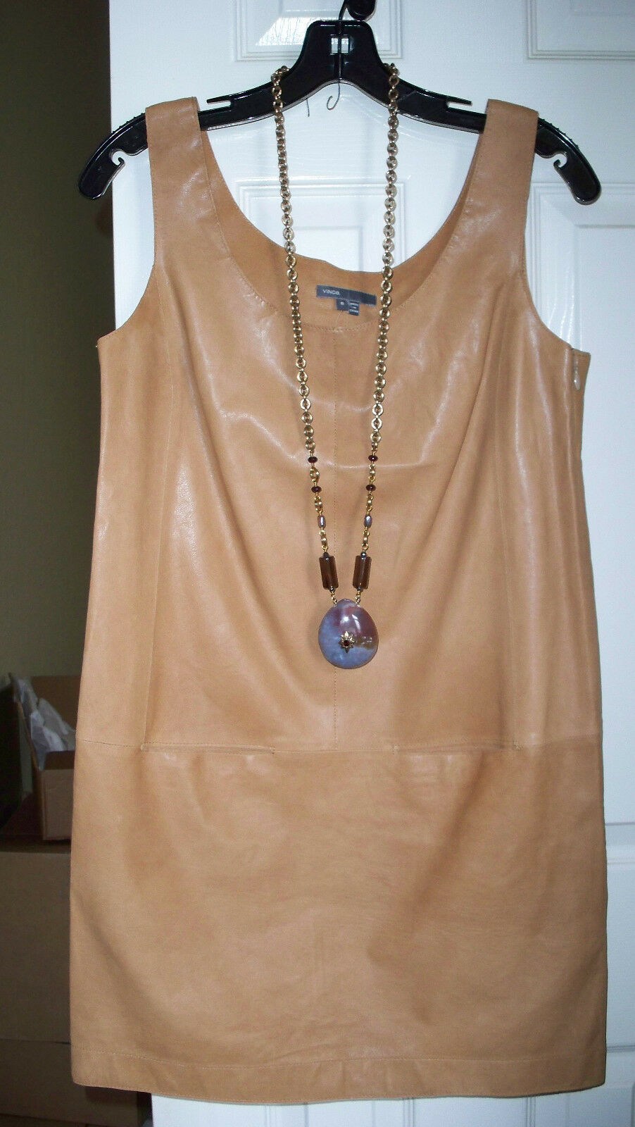 Vince Light weight Leather Tank Dress NWT 4 6 8 10 Pecan GORGEOUS