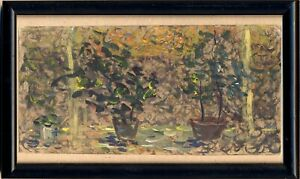 """Russischer Realist Impressionist Öl Pappe """"Blumen"""" 21x10 cm Rahmen: 24x15 cm"""