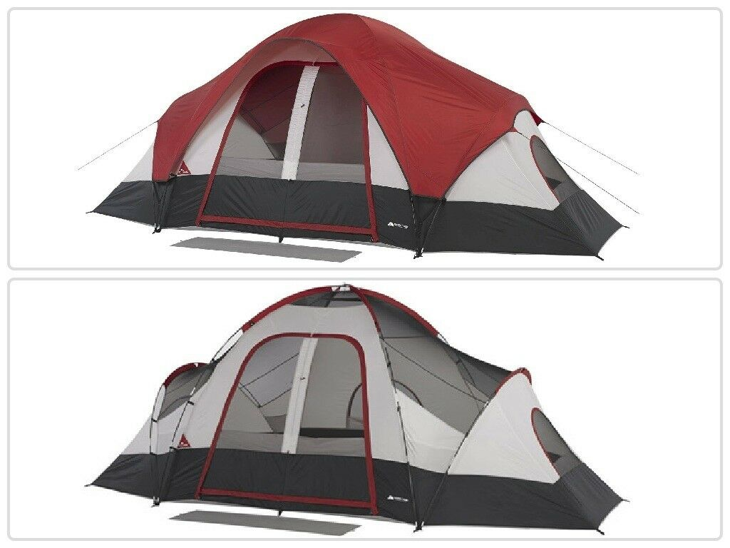 8-Person Family Tent with Mud  Mat 2 Rooms Camping Cabin Outdoor Shelter Hiking  save up to 80%