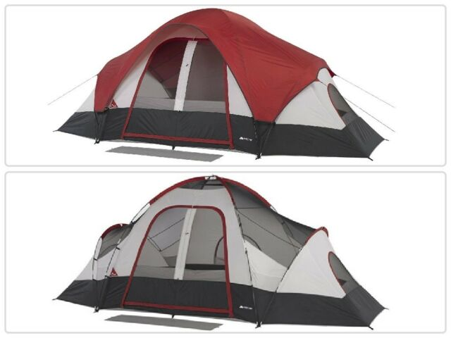 8-Person Family Tent with Mud Mat 2 Rooms Camping Cabin Outdoor Shelter Hiking