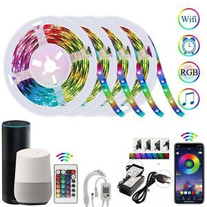 Alexa-Smart-WiFi-LED-Strip-Lights-Bar-Music-Sync-66FT-20M-with-Remote-Waterproof
