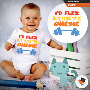 3-6 Months Baby Grows I/'d Flex Funny Christmas Baby Shower Gifts Boys Girls