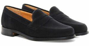 Loake Men's Eton Suede Slip On Penny Loafers Shoes Black ...