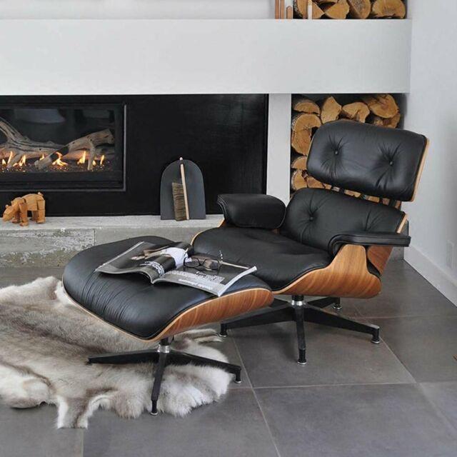 Eames Lounge Stoel Replica.Mid Century Eames Lounge Chair Ottoman Reproduction Replica