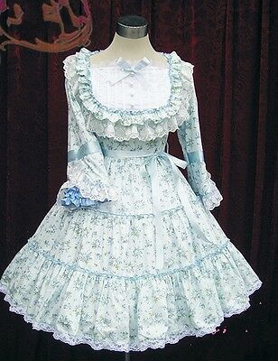 Light Blue Sweet Floral Cotton Bows Long Sleeve Cosplay Lolita Dress Costume