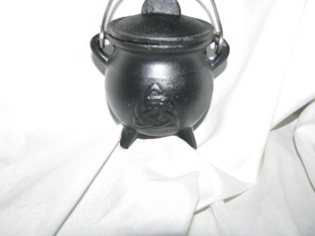 Small Triquetra Mini Potbelly Cast Iron Cauldron Wicca Pagan