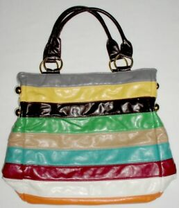 Aldo-Casual-Tote-Handbag-Bag-Purse-Red-Yellow-Blue-Multi-Color-Stripes-New