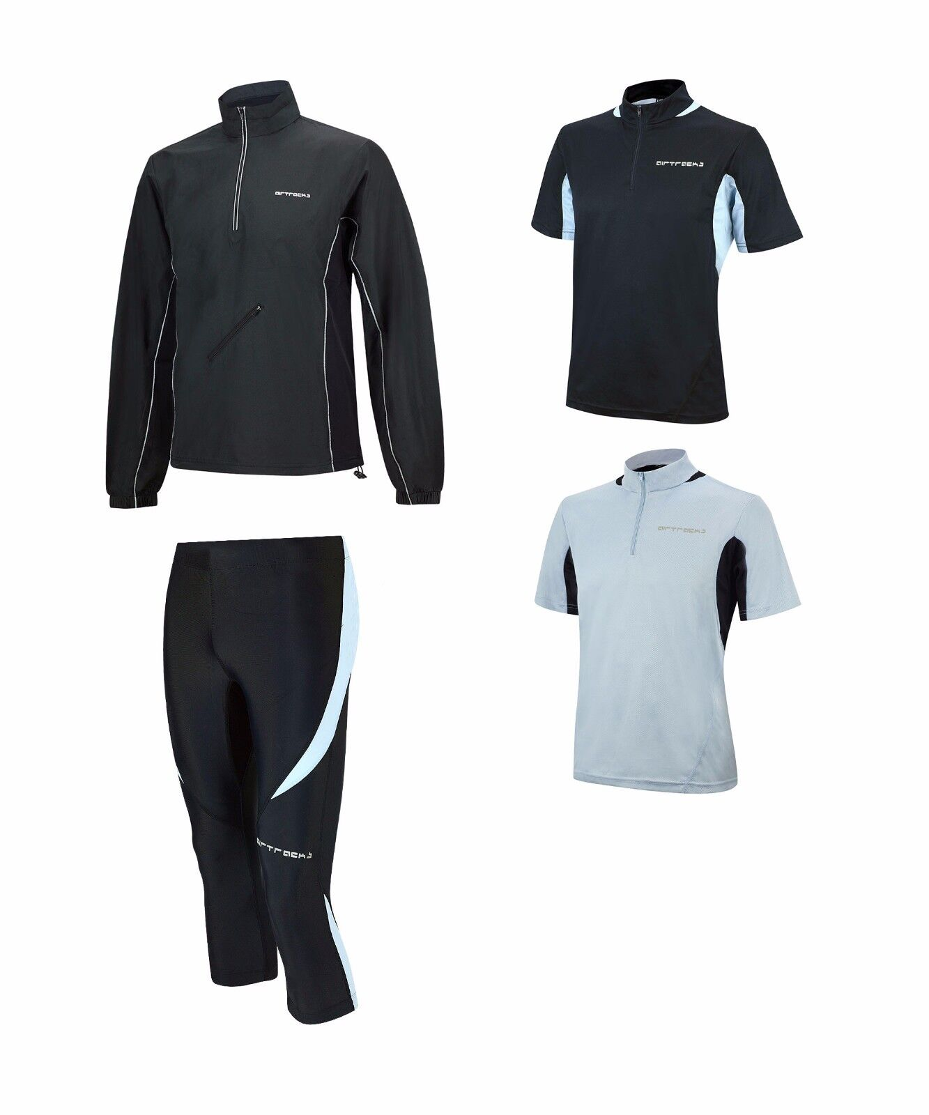 Funktions laufset  corre pantalones tight 3 4 Lang Pro + T-Shirt manga corta Pro + chaqueta de ejecución Pro