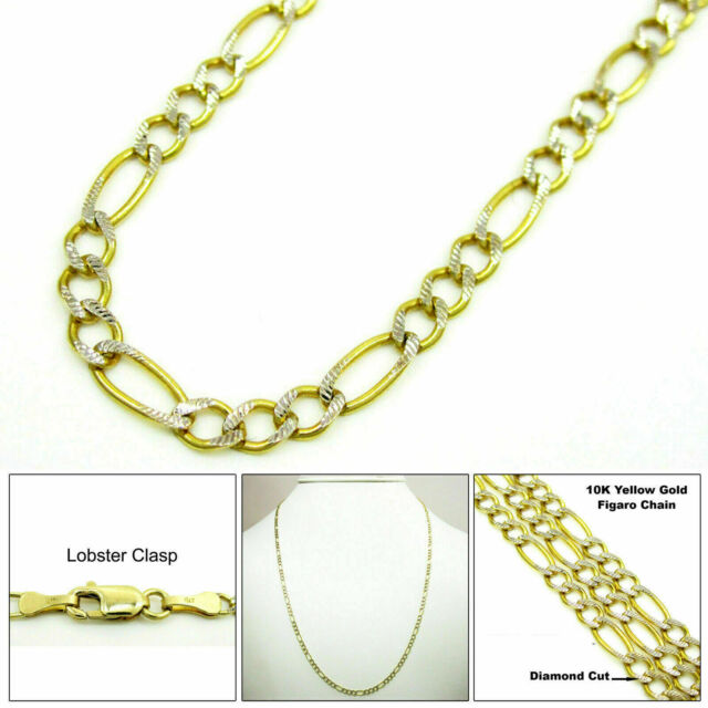"10K Yellow Gold 2MM Mens Womens Diamond Cut Figaro Chain Necklace Bracelet 7-22"""