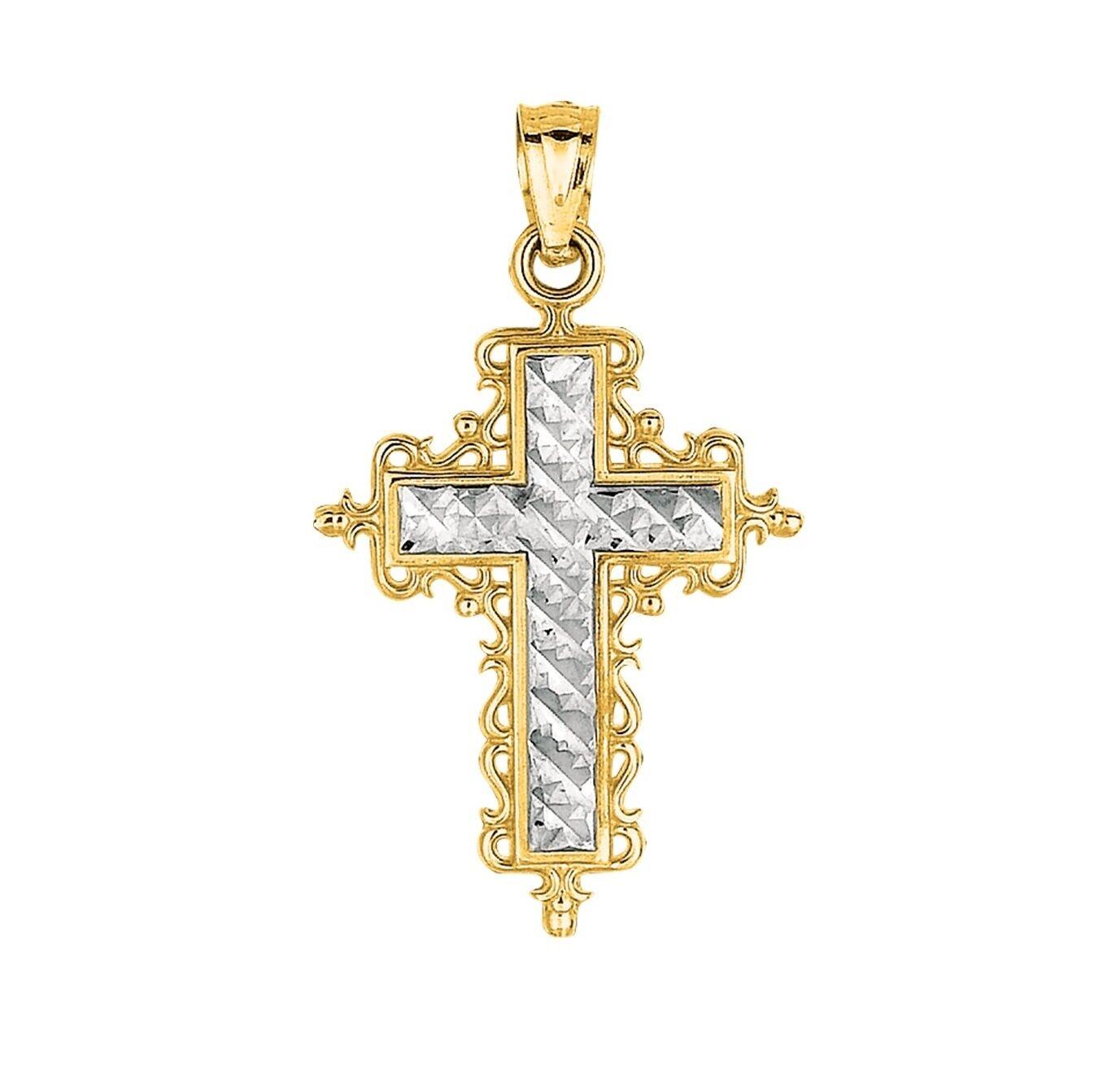 14K Yellow White gold Shiny Squared Fancy Filigree Trim Cross Pendant
