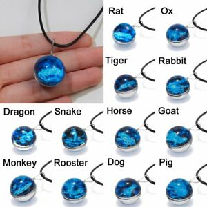 12-Chinese-Zodiac-Luminous-Double-side-Glass-Pendant-Necklace-Glow-In-The-Dark