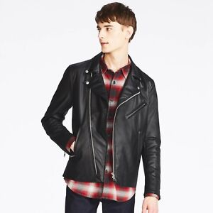 dfbf4924e Details about UNIQLO 'Faux Leather' Men's Double-Breasted Biker/ Rider/  Moto Jacket M Blk NWT!