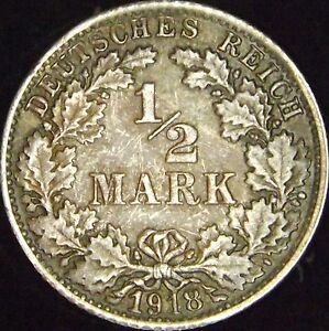 1918-F-AU-Germany-Empire-Silver-1-2-Mark-KM-17
