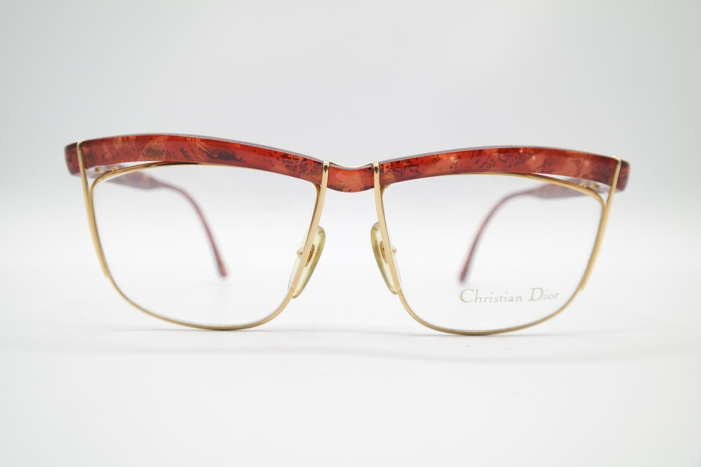Vintage Christian Dior 2552 30 Red Brown Gold Oval Sunglasses Frame NOS