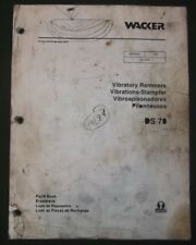 Wacker Ds 70 Vibratory Rammer Compactor Parts Catalog Book Manual