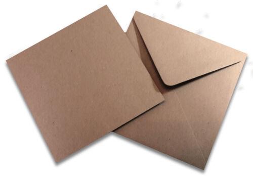 "6 x 6/"" Square Kraft Brown Card Blanks 280gsm Envelopes 120gsm Wedding Invites"