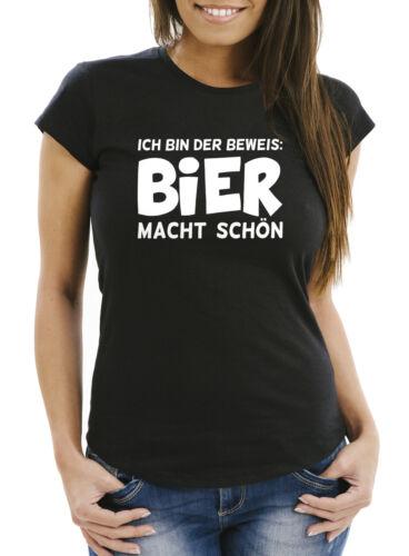 Damen T-Shirt Ich bin der Beweis Bier macht schön Slim Fit Moonworks®