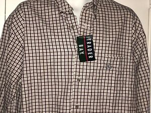 Mens-Trader-Bay-Large-New-With-Tags-Long-Sleeve-Plaid-Shirt