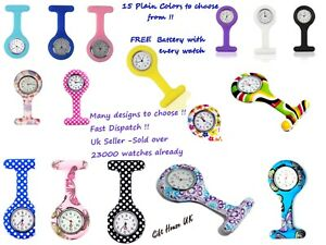 Nurse-Watch-Patterned-Silicone-Nurse-Brooch-Tunic-Fob-Watch-With-FREE-BATTERY