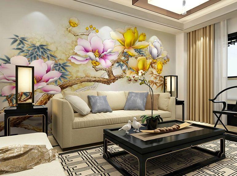 3D Gelben blüten, zweige Fototapeten Wandbild Fototapete BildTapete Familie DE