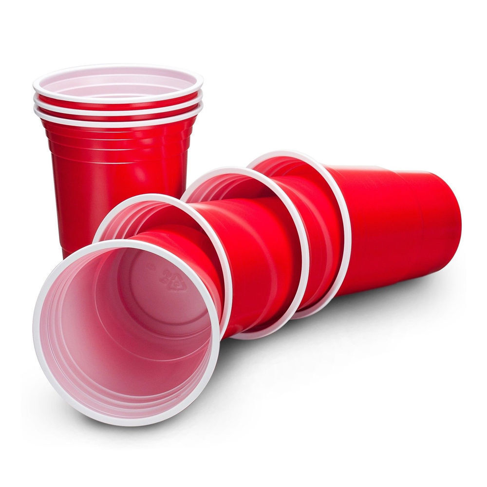 50, 100, 200, 400 x rot American Party Cups 16oz Plastic Beer Pong Frat Party