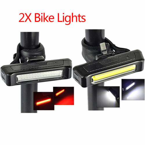 Waterproof USB Rechargeable Cob Bicycle Bike Front Rear 3 Modes LED Light UK