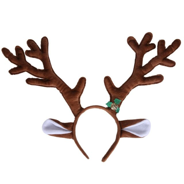 hde reindeer antlers headband with ears and bell christmas themed