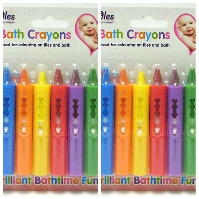 12 x WASHABLE BATH CRAYONS Crayon Kids Baby Bath Time Paints Drawing Pens Toy UK