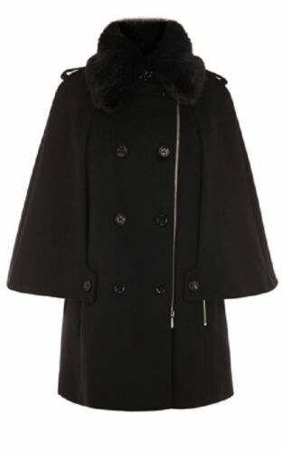 Uk Black Wool Millen Coat Karen 10 Cape OAzqxUwzX