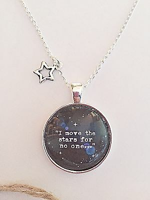 Labyrinth Glass Quote Pendant Necklace - Movie - Stars - Silver Plated