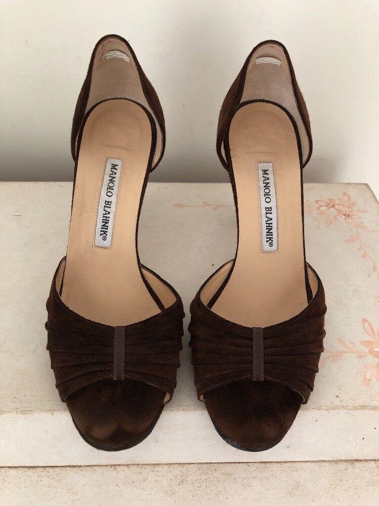 Manolo Blahnik High Heeled Braun Suede Open Toe Schuhes Größe 7 1/2