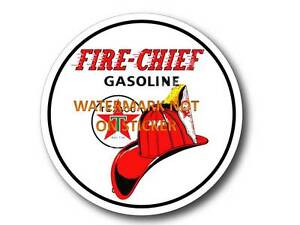 VINTAGE-FIRE-CHIEF-GASOLINE-PETROL-DECAL-STICKER-LABEL-LARGE-240mm-DIA-HOT-ROD