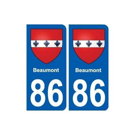 86 Beaumont blason autocollant plaque stickers ville arrondis