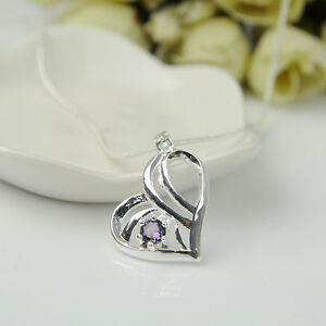 925 silver plated fashion women purple crystal pendant necklace image is loading 925 silver plated fashion women purple crystal pendant mozeypictures Choice Image