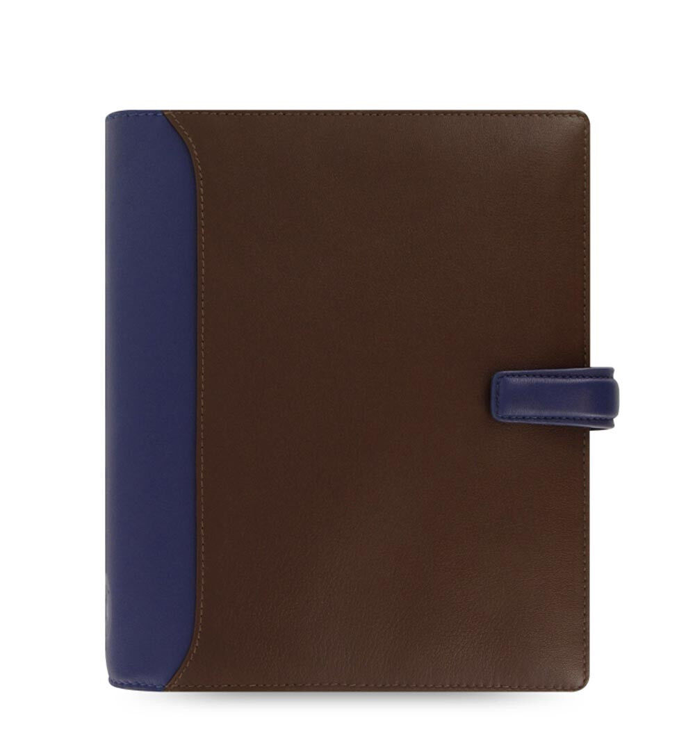 Filofax A5 Size Nappa Organiser Planner Diary Chocolate &bluee Leather 025138 J2