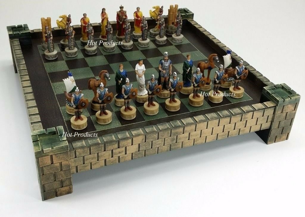 SPARTA Greek Mythology TROJAN WAR Troy vs  Spartan Chess Set 17  CASTLE tavola  presa