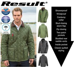 Mens-Diamond-QUILT-JACKET-Coat-Country-RIDING-Green-or-Navy-S-M-L-XL-2XL-3XL