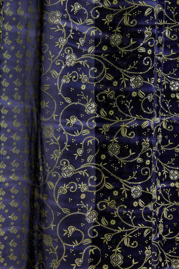 Venta-Azul Marino Largo Completo Indio Sari, transparente ventana dosel Bufanda 190