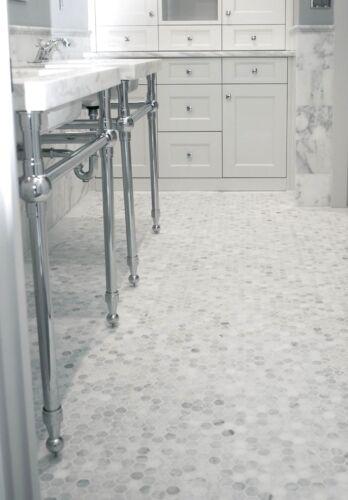 "Carrara White 1/"" Hexagon Marble Mosaic Wall and Floor Tile Backsplash Bath"