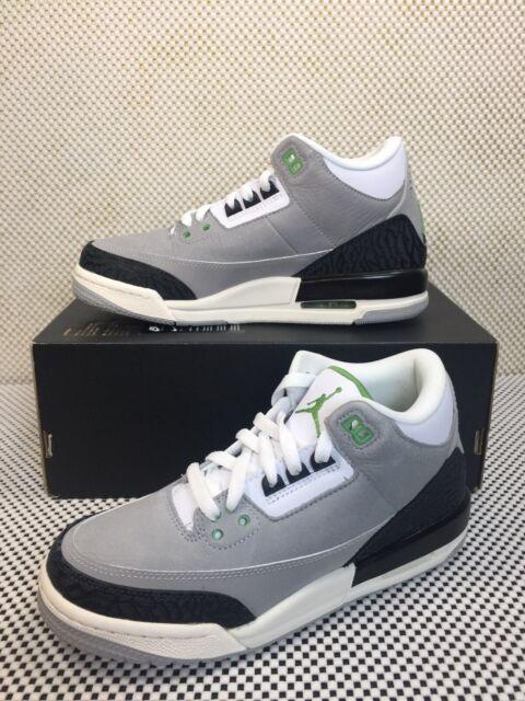 Air Jordan 3 Retro Grey Chlorophyll Basketball Kids Sz 6y Shoes 398614-006