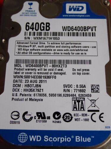 1 von 1 - Western Digital WD6400BPVT-80HXZT3 | HB0TJBN | 23 AUG 2011 | 640GB disco rigido