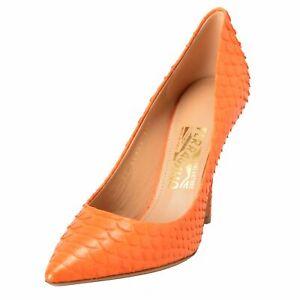 26d3dabbe774 Details about Salvatore Ferragamo Susi 100 Women s Python Skin Orange High Heels  Pumps Shoes